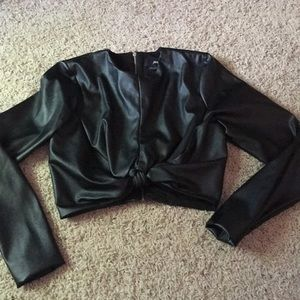 Nasty Gal Faux Leather Long sleeve knot crop top